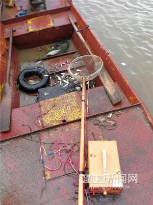 两人电鱼 被渔政抓正着